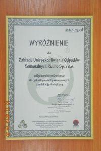 Nagrody iwyróżnienia wkonkursie organizowanym przezREKOPOL Organizację Odzysku S.A.